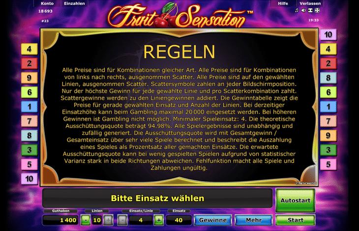 novoline_fruit_sensation_regeln