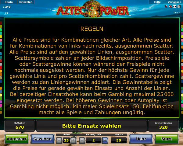 Novoline_Aztec_Power_Regeln