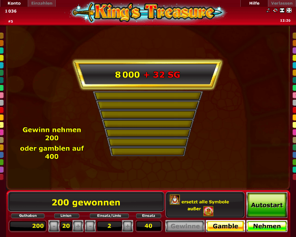 King's Treasure Gambling Funktion