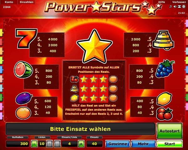 Power Stars Gewinntabelle