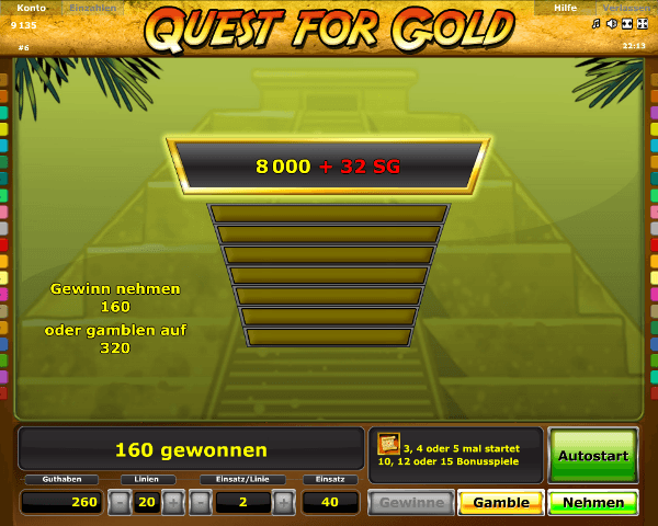 Quest for Gold Gambling Funktion