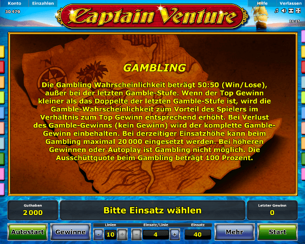 Captain Venture Gambling Regeln