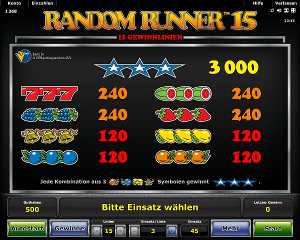 Random Runner 15 Gewinntabelle