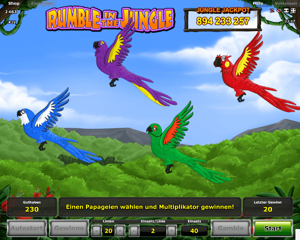 Rumble in the Jungle Pick a Parrot Bonus