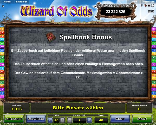 Wizard of Odds Spellbook Bonus