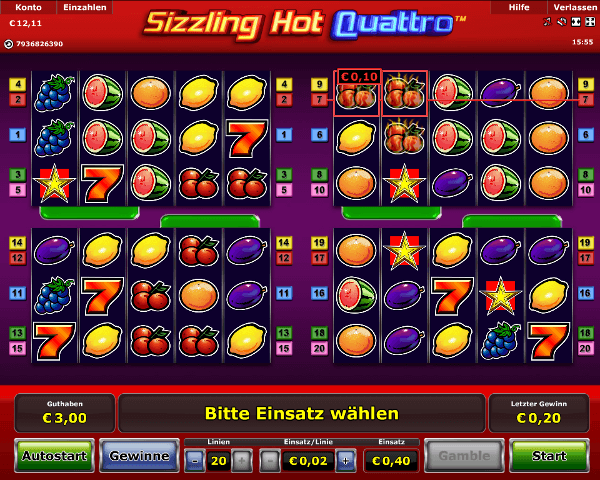 Sizzling Hot Quattro Spielautomat