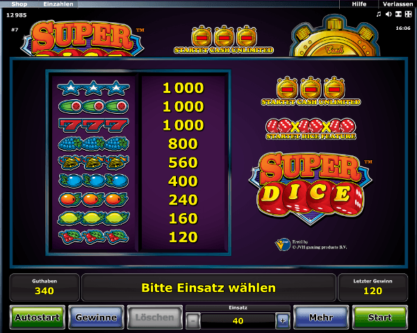 Super Dice Gewinntabelle