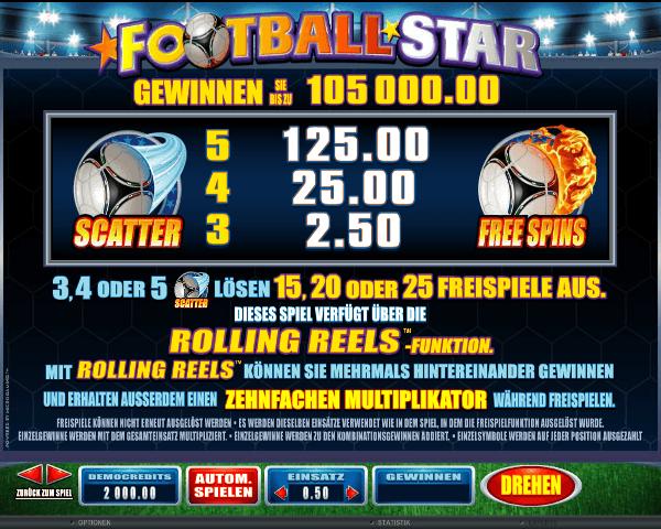 Football Star Gewinnen Sie bis zu 105000.00 Münzen