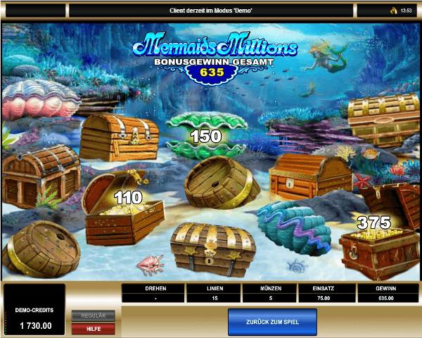 Mermaids Millions Bonusspiel