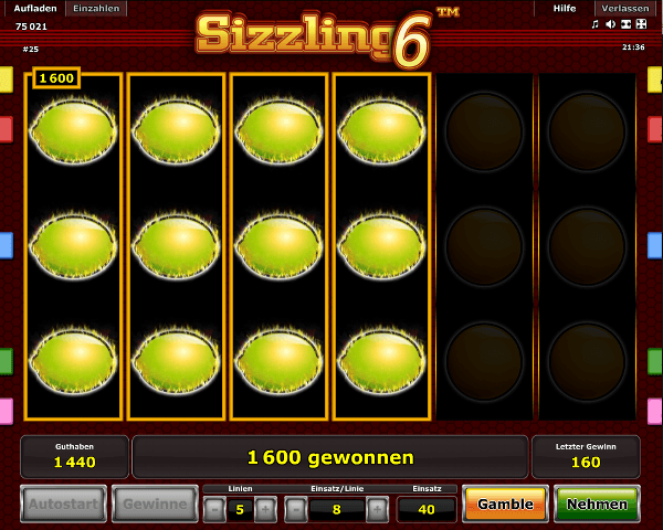 Sizzling 6 Spielautomat
