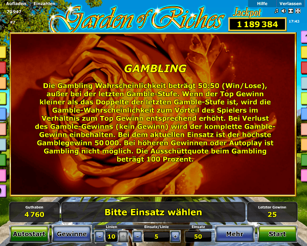 Garden of Riches Gambling Regeln