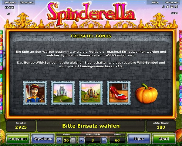 Spinderella Freispiel Bonus
