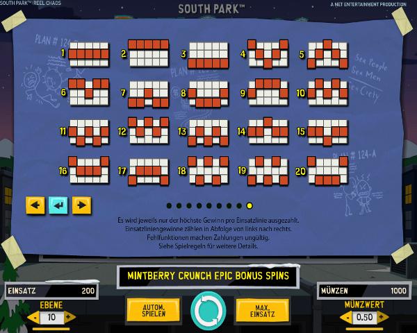 South Park Reel Chaos Gewinnlinien