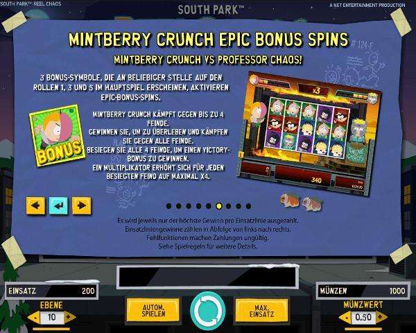 South Park Reel Chaos Mintberry Crunch Epic Bonus Spins