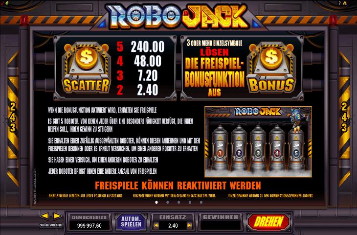 RoboJack Freispielfunktion