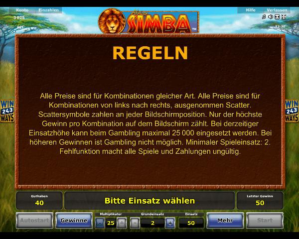 African Simba Regeln
