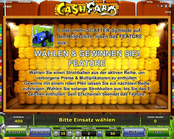 Cash Farm Wählen und Gewinnen Sie Feature