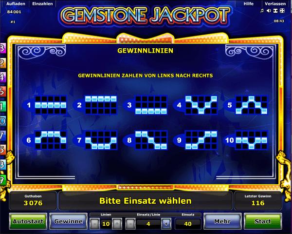 Gemstone Jackpot Gewinnlinien
