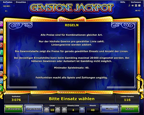 Gemstone Jackpot Regeln
