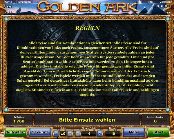 Novoline_Golden_Ark_Regeln