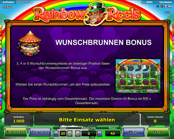 Rainbow Reels Wunschbrunnen Bonus Regeln