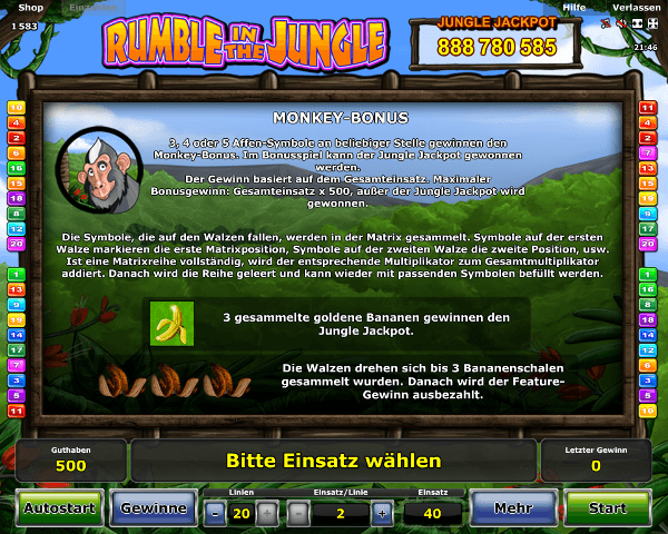 Rumble in the Jungle Monkey Bonus Regeln