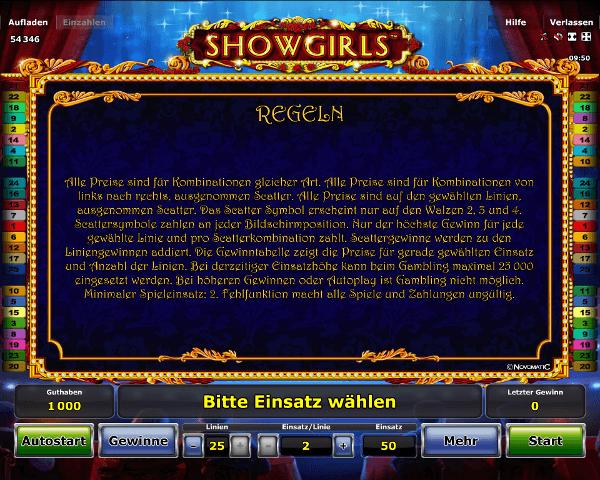 Showgirls Regeln
