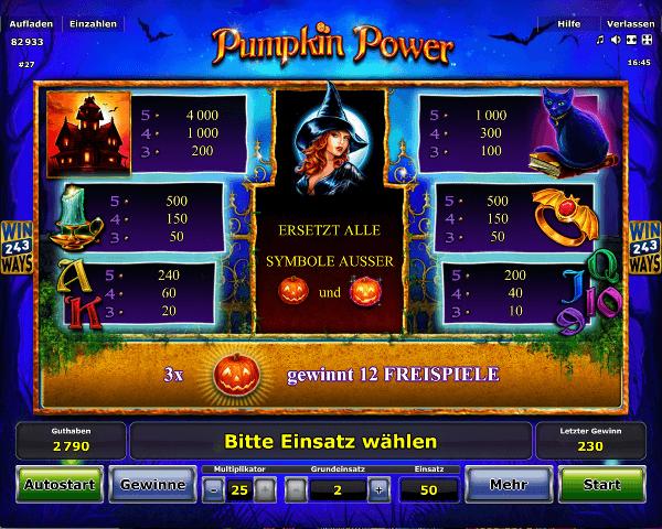 Novoline_Pumpkin_Power_Gewinntabelle