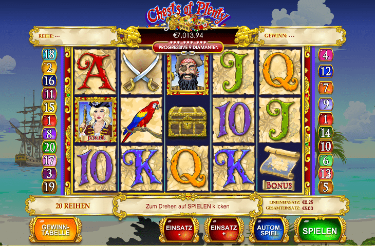 Play Chests of Plenty online slots at Casino.com