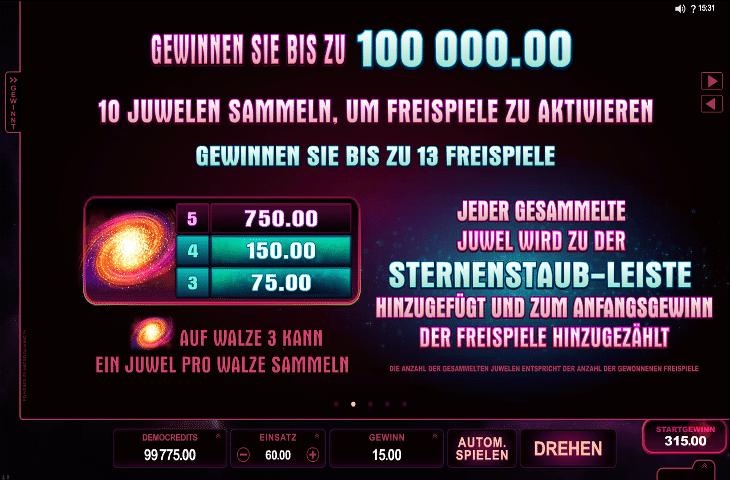 Stardust Gewinnen sie bis zu 100.000 Euro